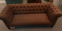 Lake District reupholstery of a chesterfield sofa